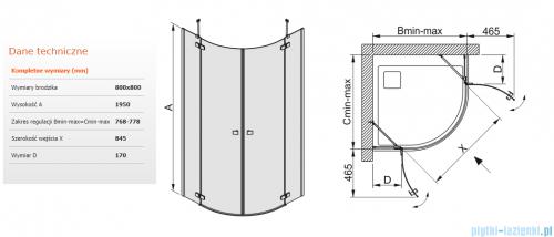 Sanplast kabina narożna półokrągła KP4/FREE-80 przejrzyste 80x80x195 cm 600-260-0010-42-401
