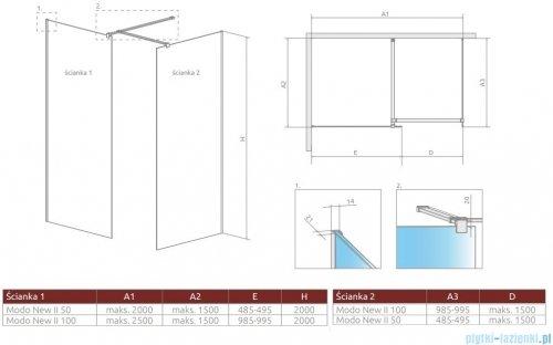 Radaway Modo New Black III kabina Walk-in 50x100x200 szkło przejrzyste 389054-54-01/389104-54-01/389000-54