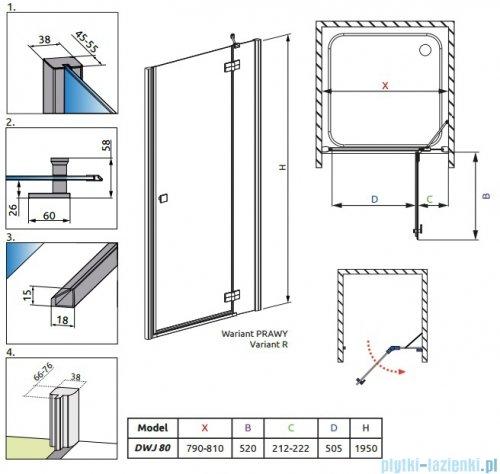 Radaway Almatea DWJ Gold drzwi wnękowe 80 prawe szkło przejrzyste 30902-09-01N