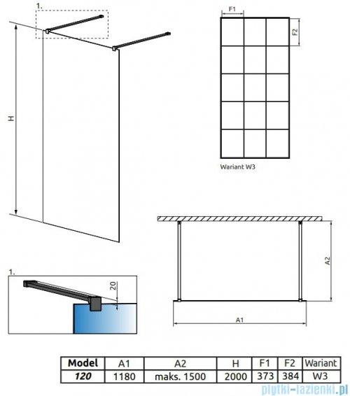 Radaway Modo X Black I Factory kabina Walk-in 120x200 szkło 10mm 388324-54-57