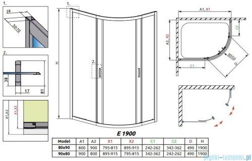 Radaway Premium Plus E Kabina prysznicowa 90x80 szkło fabric + brodzik Siros E Compact prawy + syfon 30492-01-06N