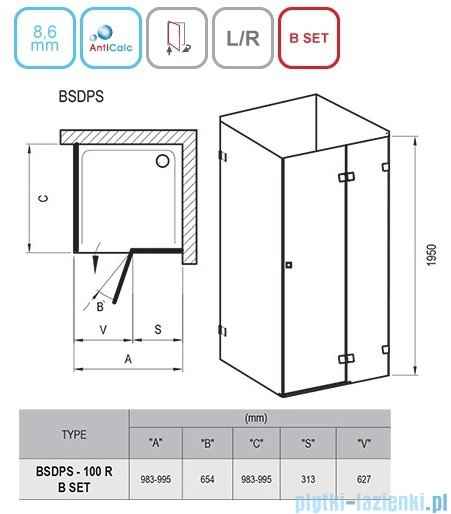 Ravak Brilliant BSDPS kabina kwadratowa 100x100cm prawa transparent 0UPA0A00Z1