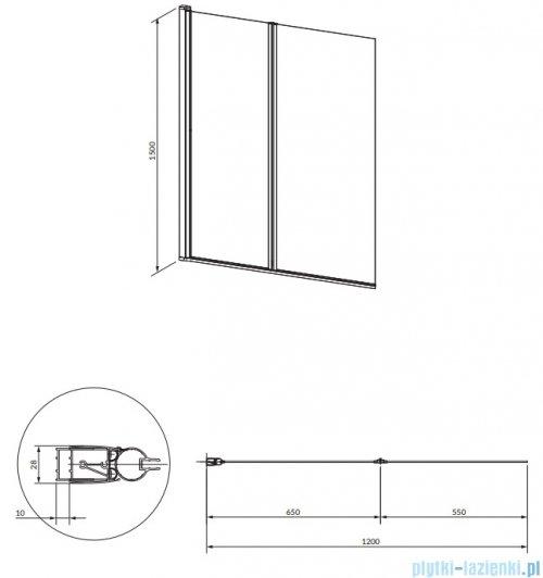 Omnires Kingston parawan nawannowy 2-częściowy 120x150 cm przejrzyste XHE20CRTR