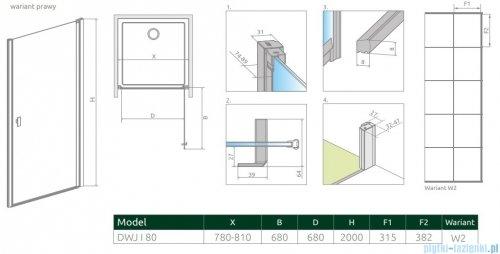Radaway Nes Black Dwj I Factory Drzwi wnękowe 80cm prawe rysunek techniczny