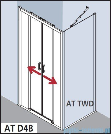 Kermi Atea Drzwi przesuwne bez progu, 4-częściowe, szkło przezroczyste z KermiClean, profile białe 170x185 ATD4B170182PK