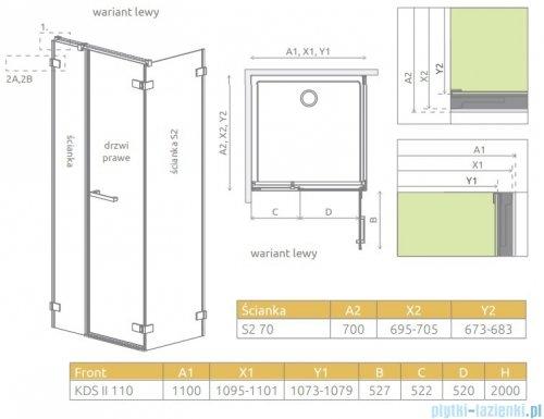 Radaway Arta Kds II kabina 110x70cm lewa szkło przejrzyste 386521-03-01R/386104-03-01/386109-03-01