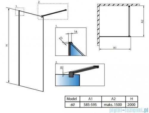 Radaway Modo New Black II 60x200 Frame kabina Walk-in 389064-54-56 rysunek techniczny