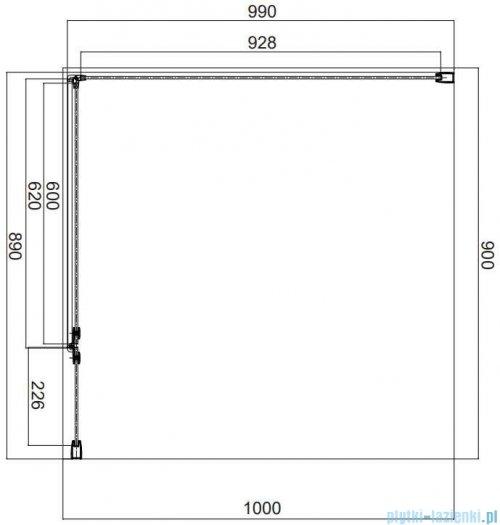 Omnires Manhattan kabina prostokątna 90x100cm szkło przejrzyste MH9010CRTR