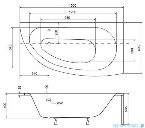 Besco Milena 150x70cm wanna asymetryczna prawa + obudowa + syfon