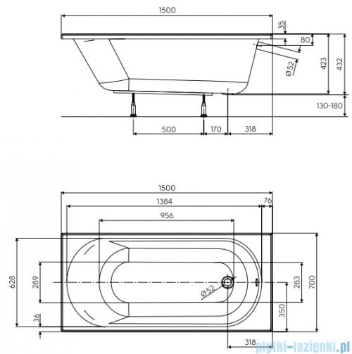 Koło Opal Plus Wanna prostokątna 150x70cm XWP1250