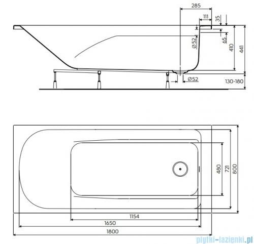 Koło Comfort Plus Wanna prostokątna 180x80cm bez uchwytów rysunek techniczny