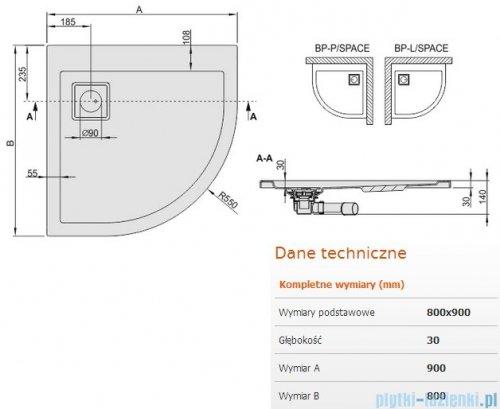 Sanplast Brodzik półokrągły Space Line 90x80x3cm Lewy+ syfon 615-110-0420-01-000