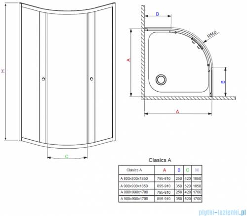 Radaway Classic A Kabina prysznicowa półokrągła z drzwiami przesuwnymi 90x90x185 szkło satinato profile białe 30000-04-02