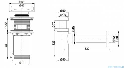 Omnires syfon umywalkowy z korkiem klik-klak złoty A706GL/A186GL