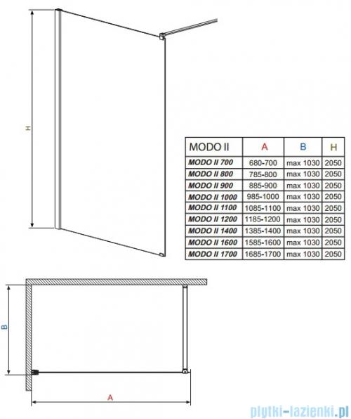 Radaway Modo II kabina Walk-in 70x205 przejrzyste 352074-01-01N