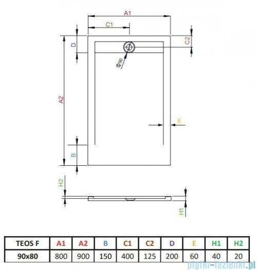Radaway Teos F brodzik 90x80cm antracyt HTF9080-64