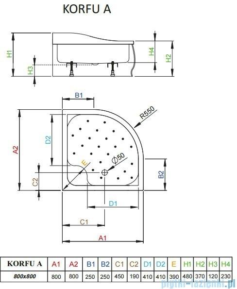 Radaway Brodzik półokrągły Korfu A 80x80 4S88400-03