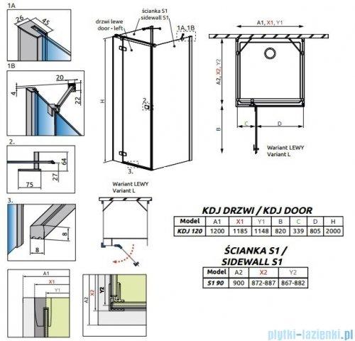 Radaway Fuenta New Kdj+S kabina 90x120x90cm lewa szkło przejrzyste + brodzik Doros D + syfon