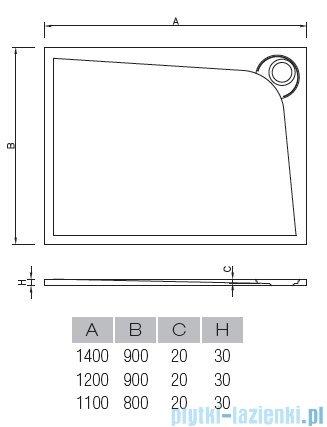 Vayer Bumerang 140x90cm Brodzik prostokątny z konglomeratu marmurowego lewy