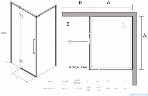 Sea Horse Fresh Line Black kabina prostokątna 120x90 cm lewa przejrzyste BK248T09/12KL