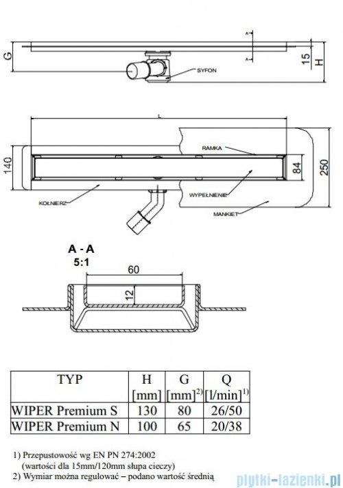 Wiper Odpływ liniowy Premium Tivano 60cm z kołnierzem mat T600MPS100