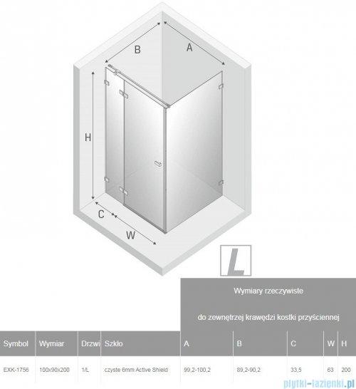 New Trendy Avexa Gold kabina prostokątna 100x90x200 cm przejrzyste lewa EXK-1756