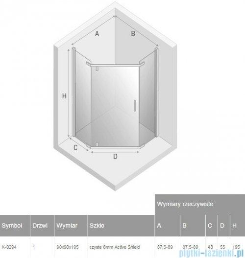 New Trendy New Komfort kabina pięciokątna 90x90x195cm przejrzyste K-0294