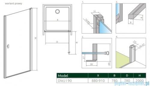 Radaway Nes Black Dwj I Frame Drzwi wnękowe 90cm prawe 10026090-54-56R