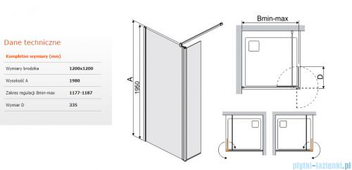 Sanplast kabina typu Walk In z elementem ruchomym 120x198 cm przejrzyste  PR2/PRIII-120   600-073-1000-01-401