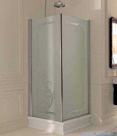 Kerasan Retro Kabina prostokątna prawa szkło dekoracyjne piaskowane profile złote 80x96 9141P1