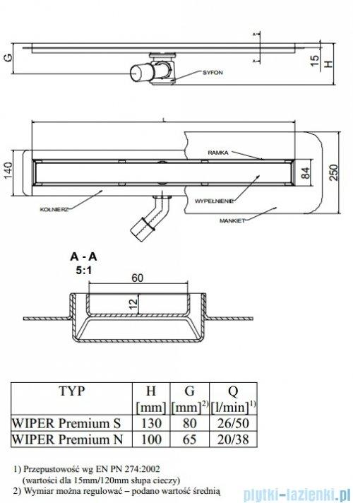 Wiper Odpływ liniowy Premium Zonda 70cm z kołnierzem szlif Z700SPS100