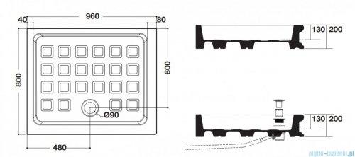 Kerasan Brodzik prostokątny prawy 80x96 Retro 1336