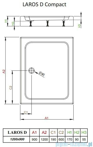 Radaway Brodzik prostokątny Laros D 120x90x17 cm z obudową SLD91217-01