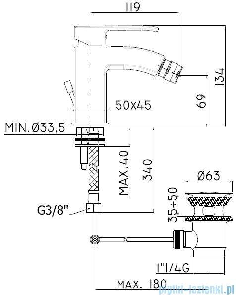 Paffoni Bateria bidetowa Level Standard chrom LES135CR