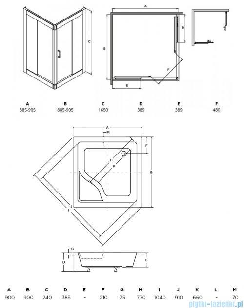 Besco Modern kabina kwadratowa z brodzikiem 90x90cm przejrzyste MK-90-165-C/#BAI-90