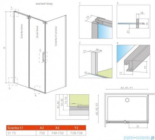 Radaway Espera KDJ S Ścianka boczna 75 prawa szkło przejrzyste 380146-01R
