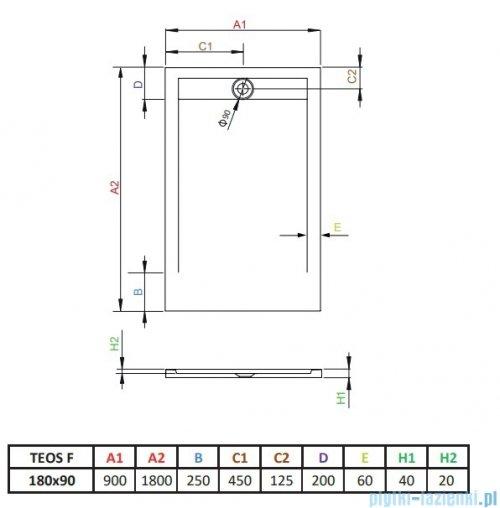Radaway Teos F brodzik 180x90cm biały HTF18090-04