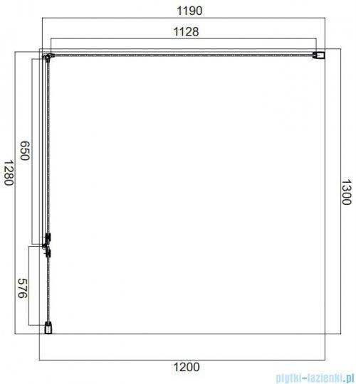 Omnires Manhattan kabina prostokątna 130x120cm szkło przejrzyste rysunek techniczny