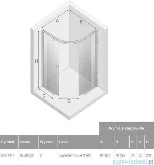 New Trendy Porta kabina półokrągła 90x90x200cm przejrzyste EXK-1045