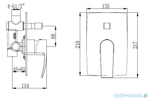 Omnires Murray zestaw prysznicowy podtynkowy chrom rysunek techniczny