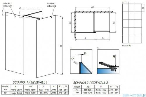 Radaway Modo New Black III kabina Walk-in 105x90x200 Frame rysunek techniczny