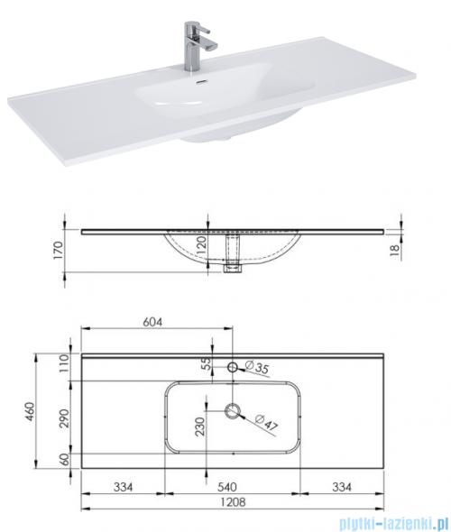 Elita Futuris szafka z umywalką 120x37x45cm biały połysk 166934/145865