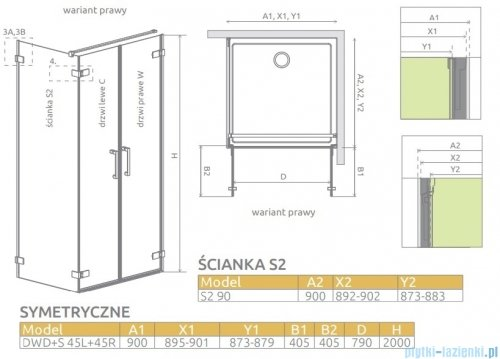 Radaway Arta Dwd+s kabina 90x90cm prawa szkło przejrzyste 386181-03-01R/386056-03-01L/386111-03-01
