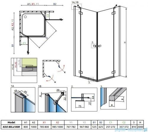 Radaway Fuenta New Kdd kabina 80x100cm szkło przejrzyste 384061-01-01L/384062-01-01R