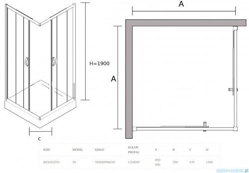 Sea Horse Stylio Black kabina natryskowa kwadratowa 90x90x190 cm przejrzysta BK502QTK+