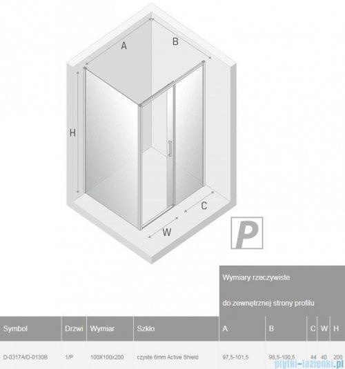 New Trendy Prime Black kabina kwadratowa 100x100x200 cm prawa przejrzyste D-0317A/D-0130B