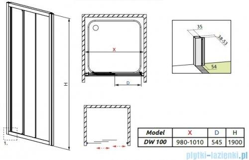 Radaway Treviso DW Drzwi wnękowe 100 szkło fabric 32323-01-06N