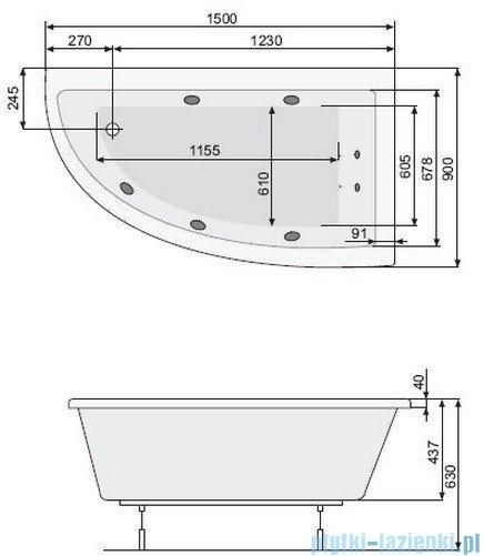 Poolspa Wanna asymetryczna LAURA 150x90 prawa + hydromasaż Smart 2 PHANY10ST2C0000