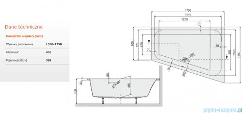 Sanplast Free Line WTL/FREE wanna trapezowata 135x175 cm prawa 610-040-1330-01-000
