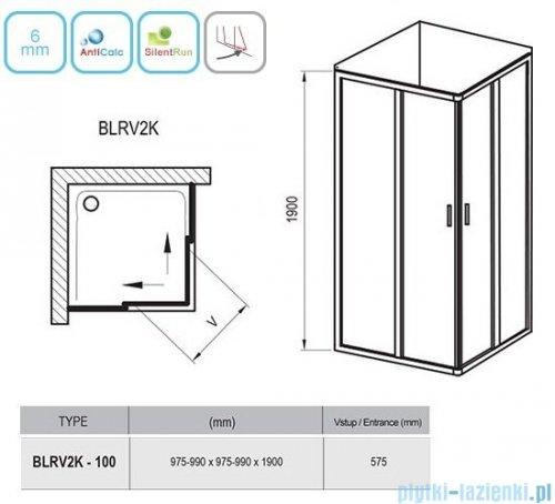 Ravak Blix BLRV2K drzwi prysznicowe 1/2 100cm satyna grape Anticalc 1XVA0U00ZG